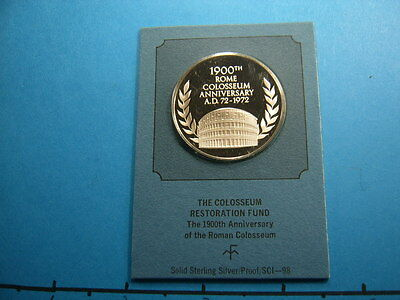 The Colosseum Ancient Rome Italy 1972 Vintage Silver Coin Original Mint Sealed