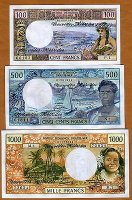 SET New Hebrides, 100;500;1000 ND, Picks 18;19;20 Colonial (now Vanuatu) UNC