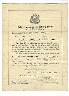 ORDER OF INDUCTION INTO MILITARY SERVICE US Army 1918 John Coutu Rhode Island