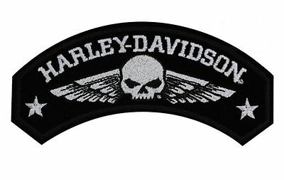 Harley Davidson Military Wings Rocker Patch With Willie G Skull Jacket Vest