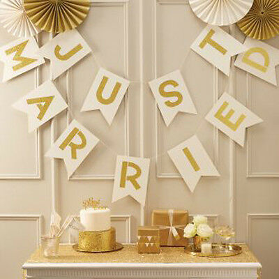 Just Married Ivory & Gold bunting - glitter wedding venue decoration