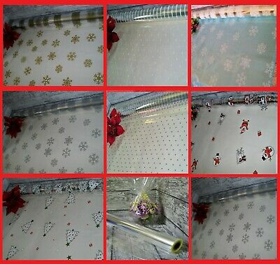 ❤ Mothers Day Cellophane Pink White Purple Dot Hearts Clear Hamper Gift Wrap