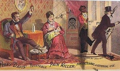 Antique Perry Davis Vegetable Pain Killer Paper Add, Black Americana Advertising