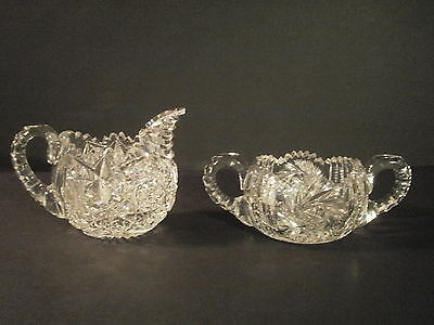 American Brilliant Period ABG Deeply cut Sugar Bowl and Cream Creamer Pitcher