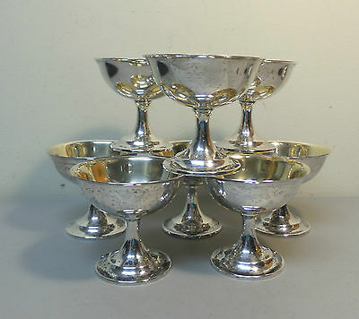 "Lovely Set/8 International ""Lord Saybrook"" Sterling Silver Champagne Goblets"