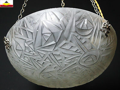 NOVERDY french Art Deco chandelier ceiling light fixture signed