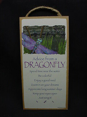 ADVICE FROM A DRAGONFLY Wisdom Love WOOD SIGN wall HANGING PLAQUE nature NEW