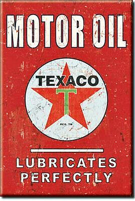 New Texaco Motor Oil Lubricates Perfectly 2 by 3 Inch  Miniature Sign Magnet