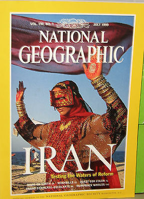 National Geographic July 1999 Iran, Mars On Earth,Whale,Hornbill, Color Quest