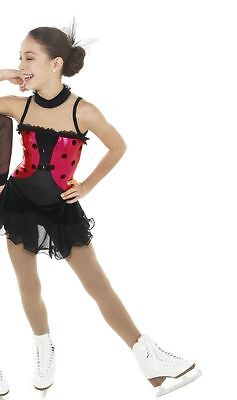 NEW COMPETITION SKATING DRESS Elite Xpression Black Red  1422 6x/7