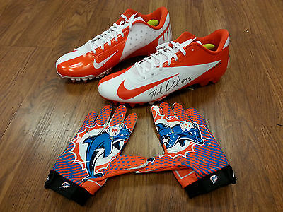 NOLAN CARROLL Signed MIAMI DOLPHINS Nike Game Issue Cleats and Gloves - EAGLES