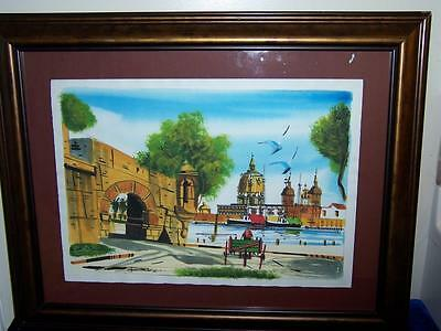 Mid Century Modern European Boats Architectural Buildings Watercolor Painting