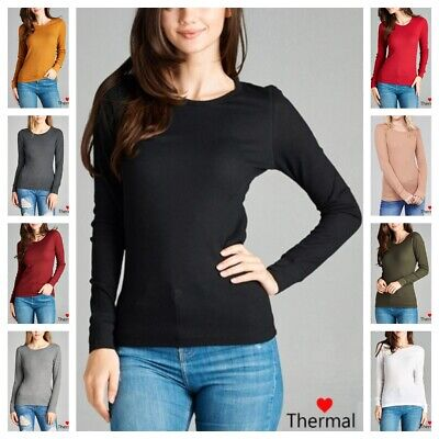 NEW Women Thermal Mini Waffle Long Sleeve CREW NECK T-Shirt Top REG N PLUS S-3XL