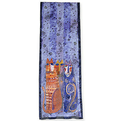 New LAUREL BURCH 100% Pure Silk SCARF Wrap Throw AUTUMN FELINES Purple Cats