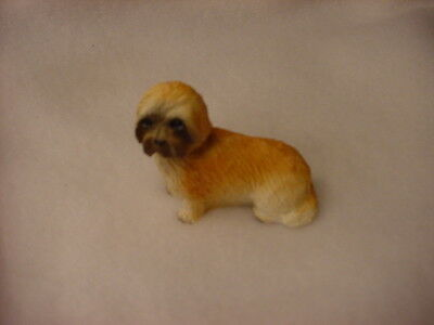 LHASA APSO brown puppy TiNY DOG Figurine HAND PAINTED MINIATURE Statue sport cut