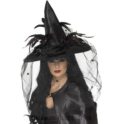 A633 Deluxe Witch Hat Black Feathers with Netting Halloween Costume Accessory