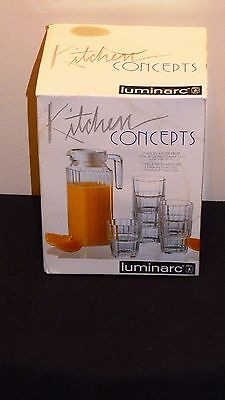 LUMINARC GLASS FRIDGE JUG 1 ltr AND 6 GLASSES TOUGHEND J G DURAND RIGHT PRICE