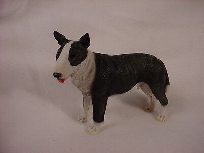 BULL TERRIER dog HAND PAINTED FIGURINE Resin Statue BRINDLE puppy COLLECTIBLE
