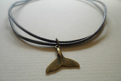 Antique Bronze Whale/Shark/Dolphin Tail Brown Leather Surf Necklace