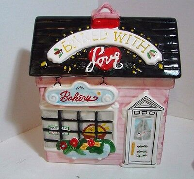 "Cookie Jar Baked With Love  Bakery Shop Style Cookie Biscuit Jar 11"" x 8.5"" x 5"""