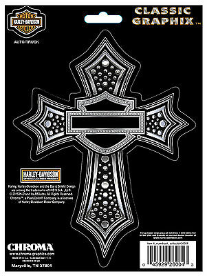 Harley Davidson Ornate Gothic Cross Decal With Chrome Finish * Made In Usa *