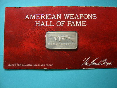 Thompson Submachine 1921 Rifle Gun Vintage Silver Bar Lincoln Mint Rare Cool