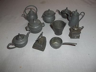 """Group of 10 Antique Lead Dollhouse Miniature Kitchen Items Tallest is 2"""""""