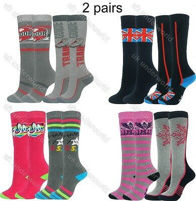 2 Pairs Boys Girls Thermal Welly Socks Boot Ski Walking Cycling Childrens Ladies