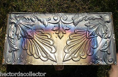 Antique Iridescent Victorian Ceiling Tin Tile Carnival Flowers Leaves Shaby Chic