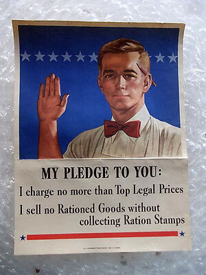 2 RARE WWII ORIGINAL RATION PLEDGE POSTERS 1943 US Government Printing Office