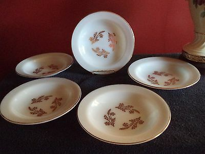 5 Federal Glass Soup Bowls/Golden Glory Pattern