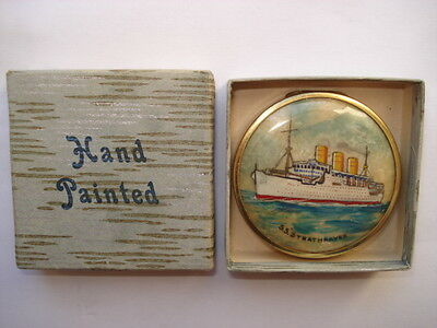 Rare C1930S P&o S.s.strathnaver Hand Painted Coty Ladies Unused Boxed Compact