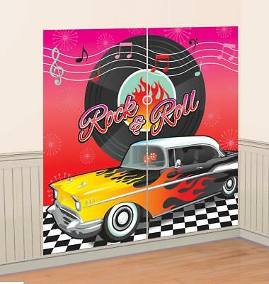 5ft Rock & Roll 50s Theme Scene Setter Wall Decoration Photo Prop Party Banner