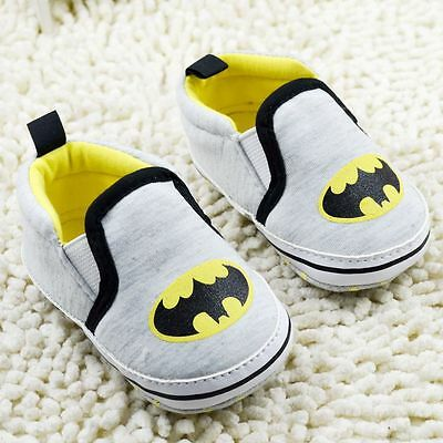 Baby Boy Superhero Batman Black Grey & Yellow Cotton Pre Walker Boots Shoes