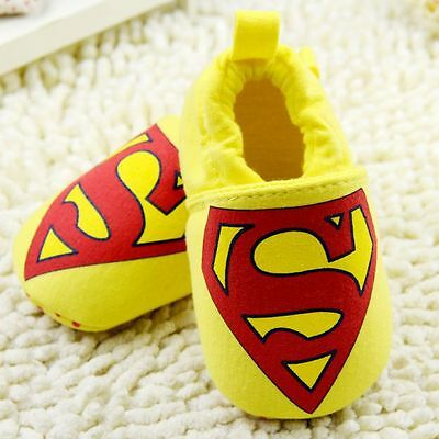 Baby Boy Superhero Superman Yellow & Red Cotton Pre Walker Shoes