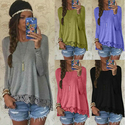 New Fashion Women Ladies Lace Cotton Long Sleeve Blouse Casual Tank Tops T-Shirt