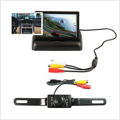 Car Rearview License Plate Fame Camera + 4.3inch Foldable Color Display Monitor