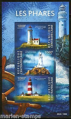 Central Africa  2015 Lighthouses Sheet Mint Nh