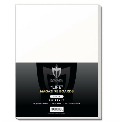 Pack of 100 Max Pro LIFE Magazine Acid Free Backing Boards white backers