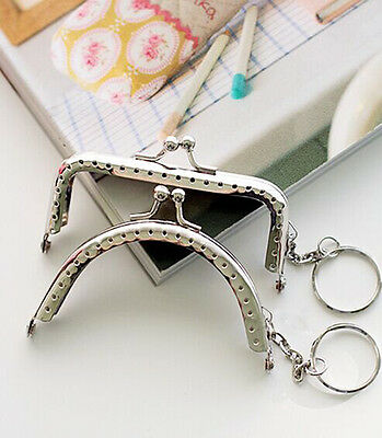 Silver Metal Frame Kiss Clasp For Purse Handle Bag With key ring 8.5CM