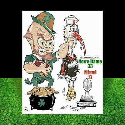 New NOTRE DAME FIGHTING IRISH artist signed 2010 SUN BOWL POSTER ART nd football
