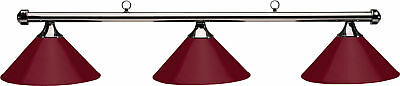 HJ Scott Gunmetal Bar/Burgundy Metal Shade Billiard Pool Table Light