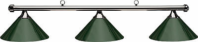 HJ Scott Gunmetal Bar/Green Metal Shade Billiard Pool Table Light