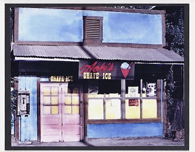 Aoki's Shave Ice 1978 Haleiwa Giclee Of Hand Colored B&w On 8X10 Inch Black Mat