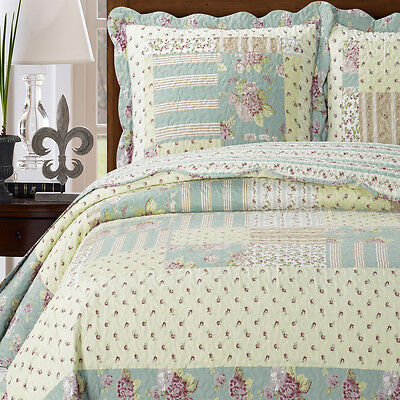 Full / Queen Size Annabel Oversize Coverlet 3-PC Set Luxury Microfiber Printed