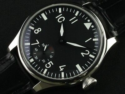 44mm Parnis 6498 Hand Winding Men Watch 12-hour Dial Stainless Steel Case Casual