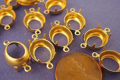 Brass Oval Pronged Settings 2 Ring Open Backs 12x10 - 24 Pieces