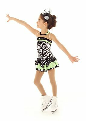 NEW COMPETITION SKATING DRESS Elite Xpression Black Green 1370 AS SMALL