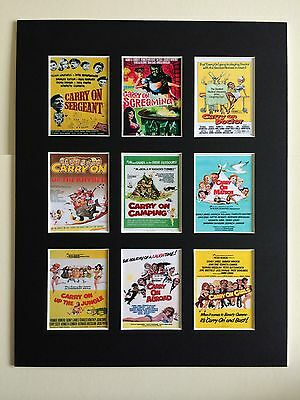 "Carry On Retro Film Posters 14"" By 11"" Picture Mounted Ready To Frame"