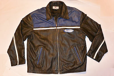 MEN'S GENUINE PEPSI GeneratioNext LEATHER JACKET! BLACK & BLUE WITH LOGO! 2XL